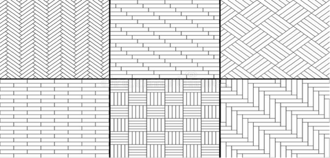 A range of herringbone parquet patterns