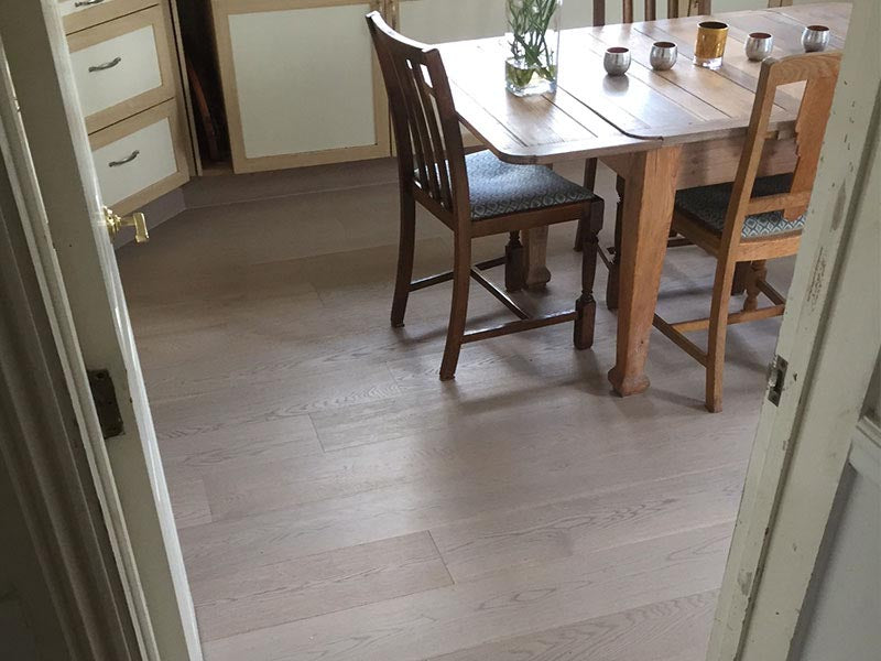 lacquered oak flooring in a kitchen