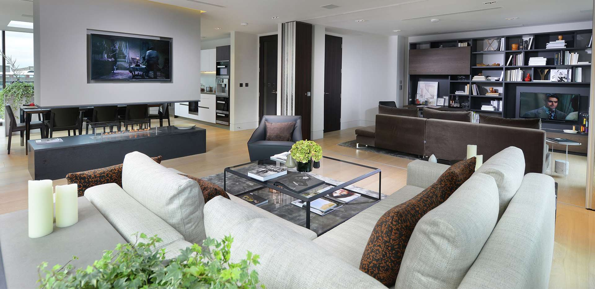 living space fitted with wood flooring