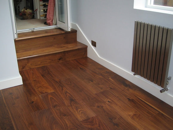 Black American Walnut Flooring Lacquered Finish - Stairs