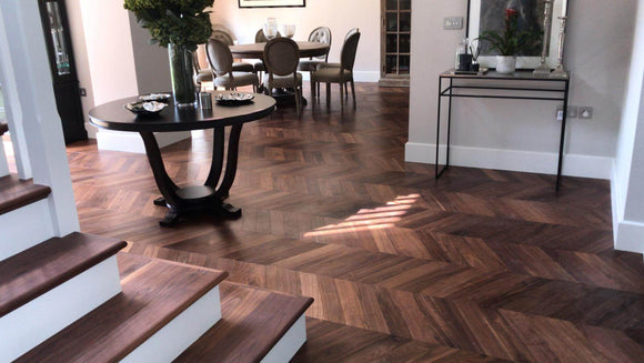 Black American Walnut Chevron Parquet flooring | TW-E935