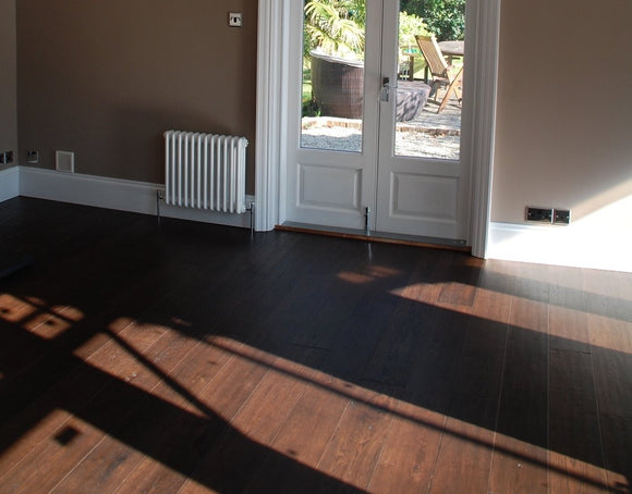 Antique Burnt Oak Flooring Lacquered Finish