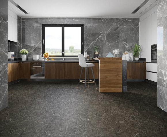 Black Marble Stone Luxury Vinyl Tile