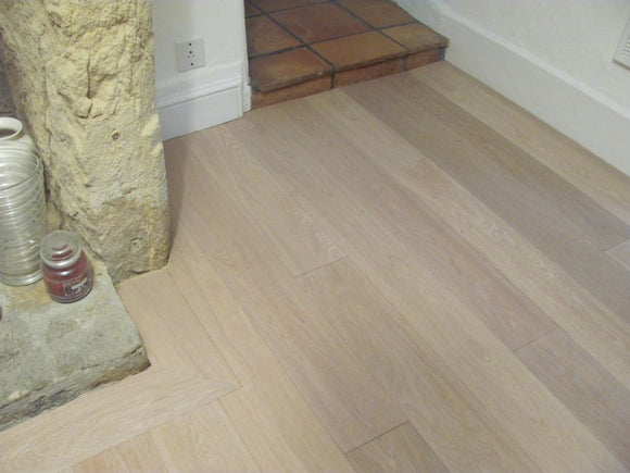Brushed Oak Flooring White Oil Finish
