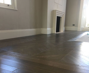 Deep fumed Dark Earth 60 degree Chevron Parquet flooring | TW-E938