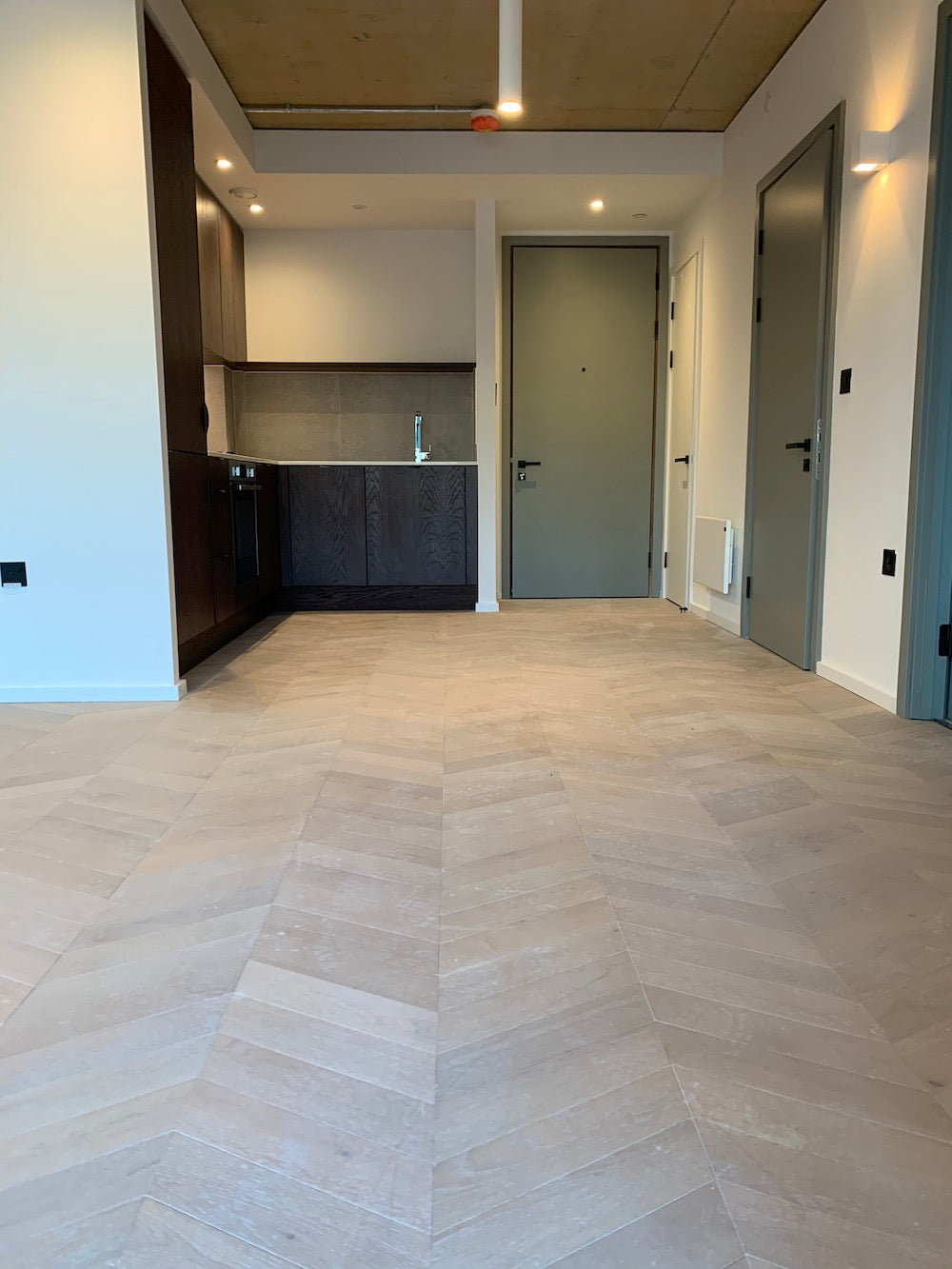 Chevron Parquet Flooring light brushed harbour grey