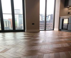 Chevron Dark Brown Parquet Engineered Oiled Block | TW-E934