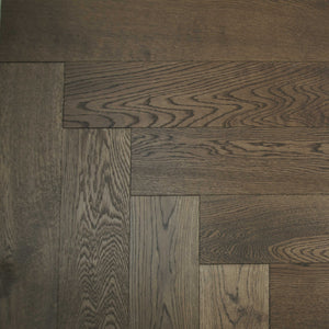 Antique Smoke Brushed Herringbone Oak Parquet UV Oil Finish | TW-E907