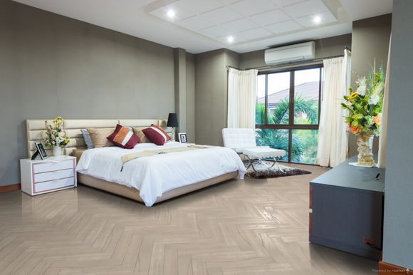 Herringbone Engineered Smooth Snow UV Oiled Oak | TW-E918