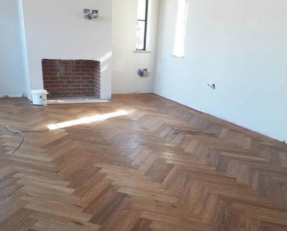 Double Brushed Fumed UV Oiled Rustic Oak Herringbone Parquet | TW-E948