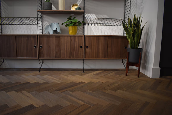 Herringbone Parquet Block Rustic Brushed Fumed Oiled | TW-E944UV