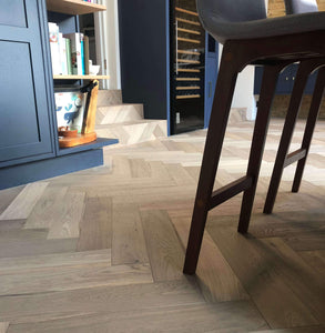Light Brushed Raw Timber UV Oiled Oak Herringbone Parquet Flooring
