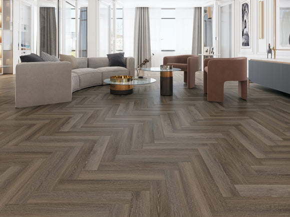Impervia Luxury Herringbone Cobble Grey Oak Flooring