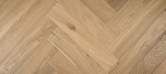 Light Brushed Fumed Raw Timber UV Oiled Oak Herringbone Parquet Flooring | TW-E915T