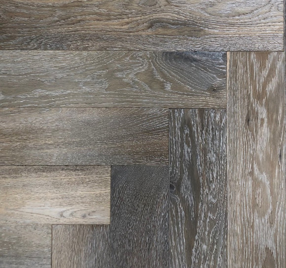 Dark Cobble Grey Oak Herringbone Parquet | TW-E959