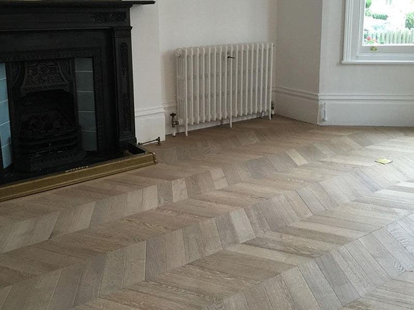 Chevron Antique Parquet Block Engineered Fawn Oiled | TW-E933