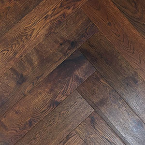 Mahogany Coloured Lightly Brushed Oak Herringbone Parquet Oiled Finish | TW-E932