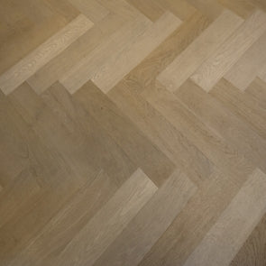 Lightly Fumed & Smoked Square Edged Oak Parquet Flooring Raw Timber Finish