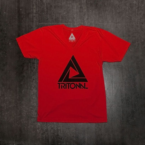 Tritonal - Logo V-neck Tee - Red