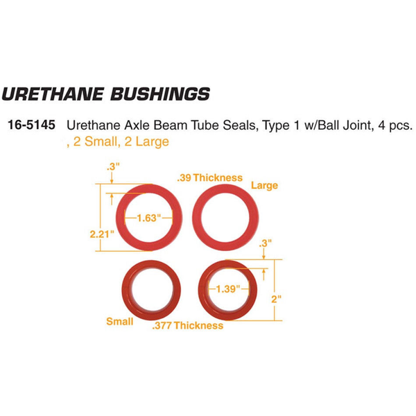 Urethane Axle Beam Tube Seals, Type 1 w/Ball Joint, 4 pcs., 2 Small, 2 Large Suspension & Steering Empi # 16-5145-0