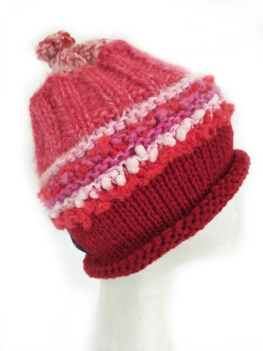 CHUNKY CLASSIC BEANIE - Red and Pink- Medium