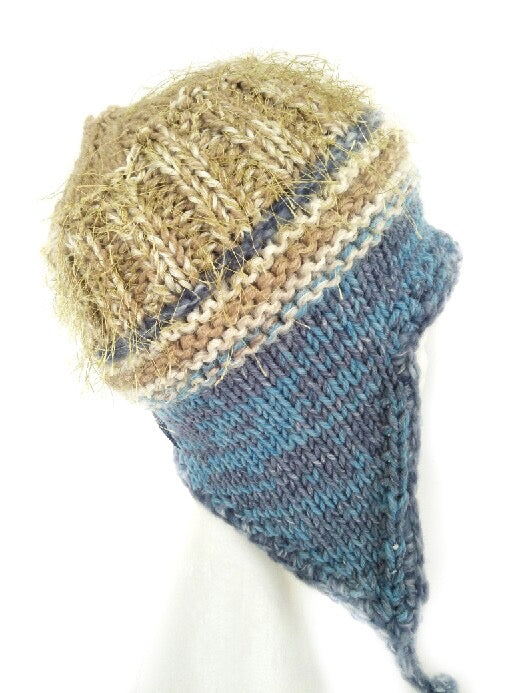 COASTAL BEANIE - Blue and yellow - Medium