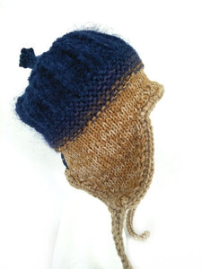 COASTAL BEANIE -navy and mustard- large