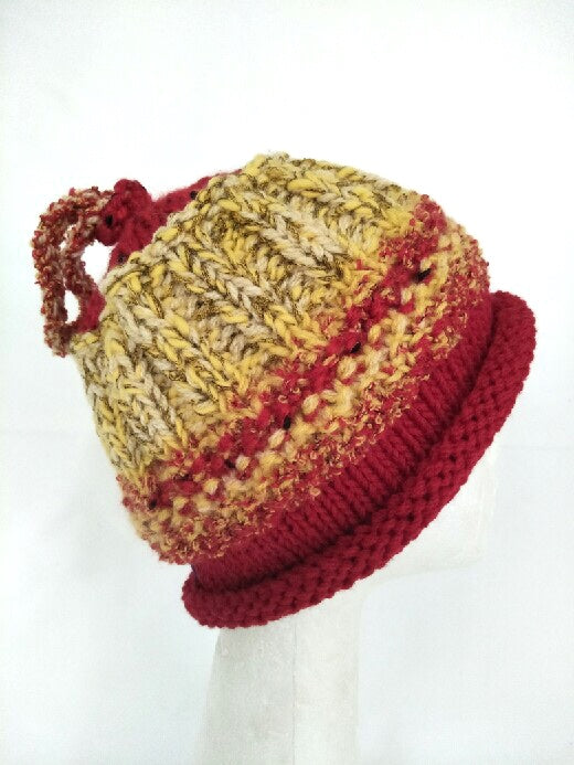 CHUNKY CLASSIC BEANIE- red and gold