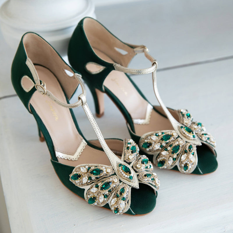 Introducing Mimosa Emerald- our stunning new hand embellished green wedding shoes