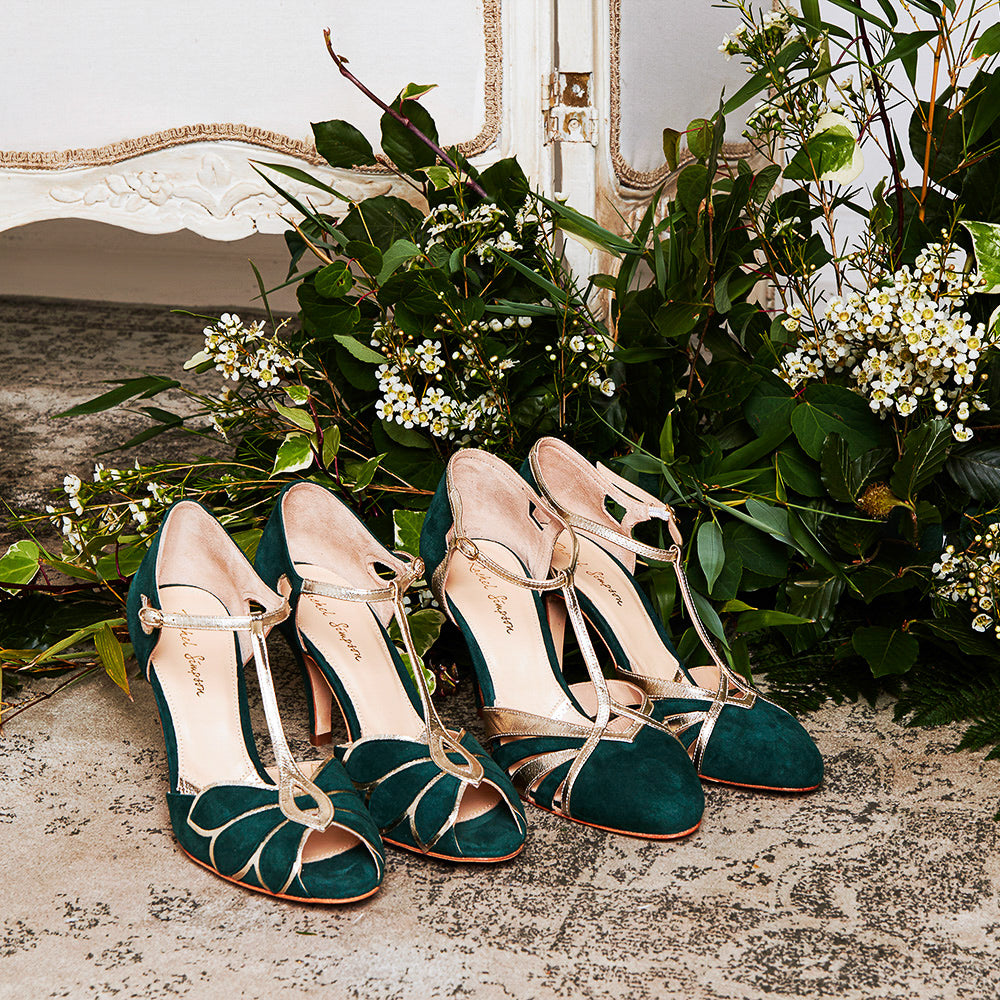 Rachel Simpson Mimosa forest green Paloma forest green green and gold wedding shoes