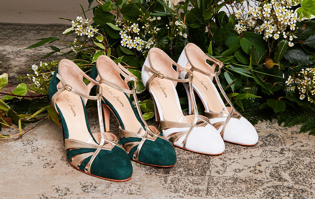 Rachel Simpson Paloma forest green and gold wedding shoes
