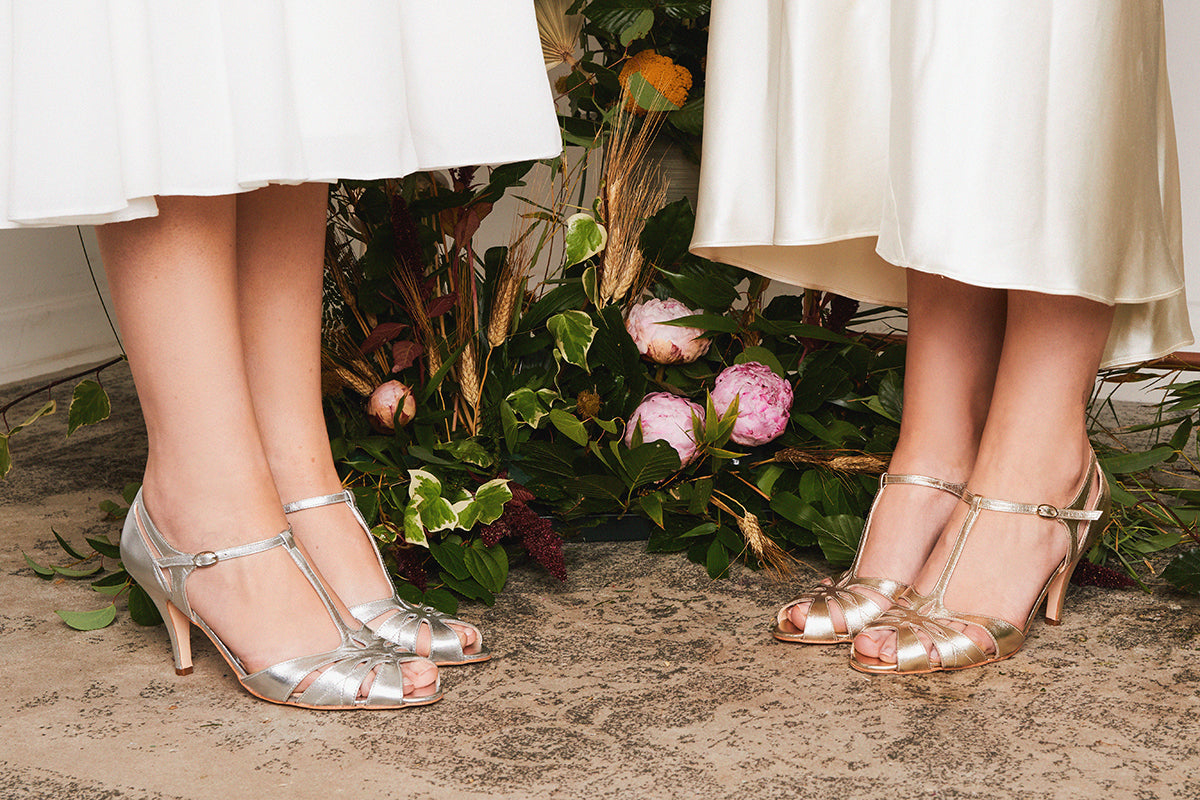 Rachel Simpson Ginger metallic vintage t-bar wedding shoes
