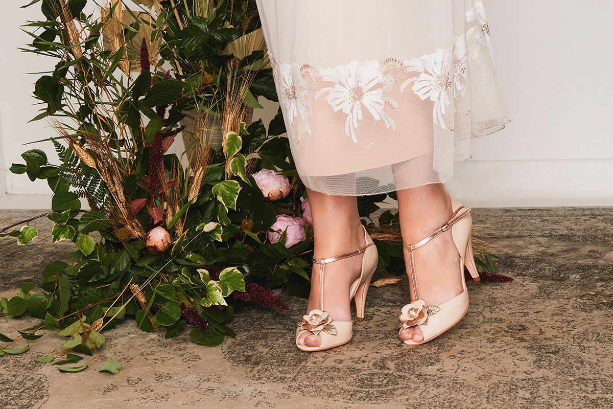 Rachel Simpson Gabriella blush floral wedding shoes