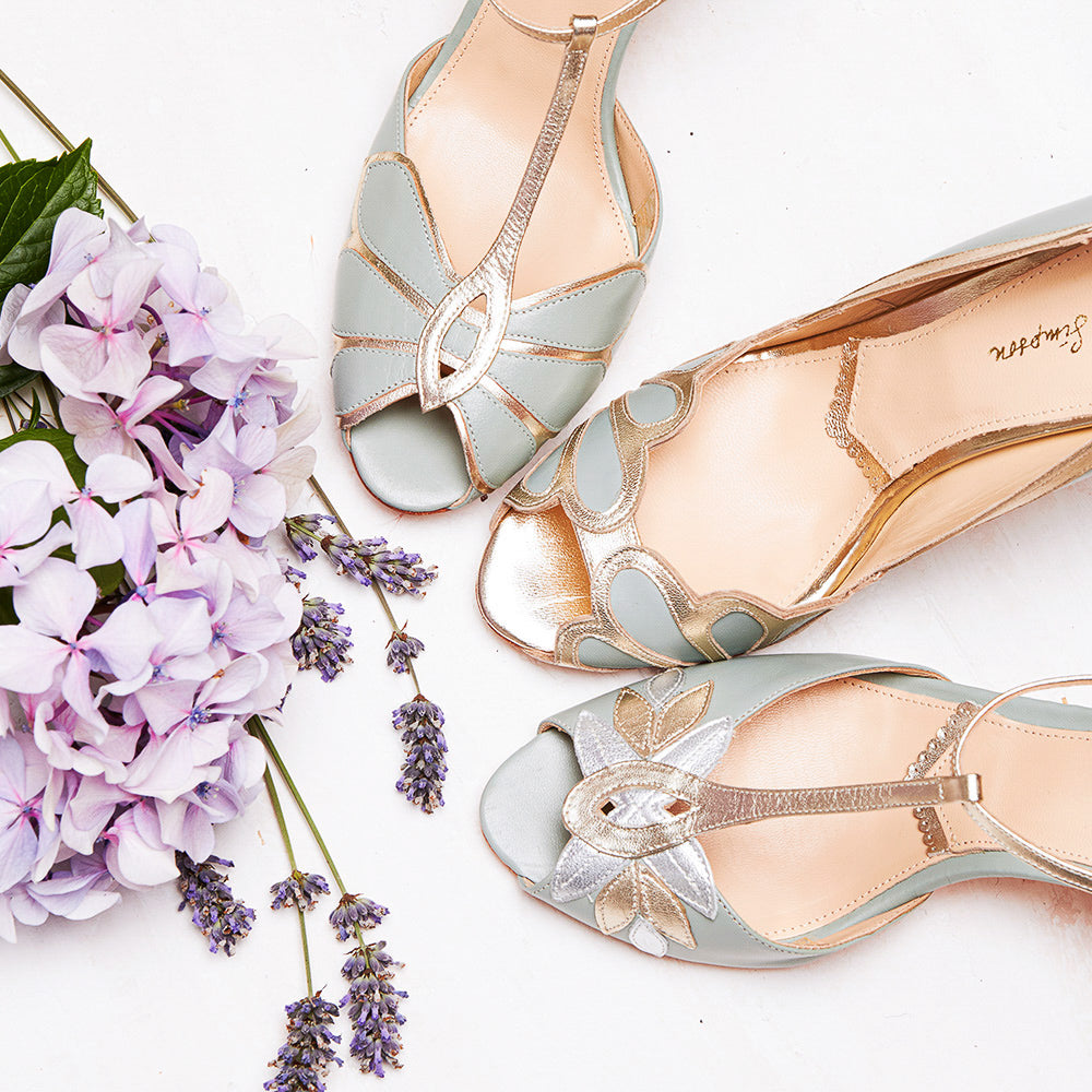 Rachel Simpson mint green wedding shoes
