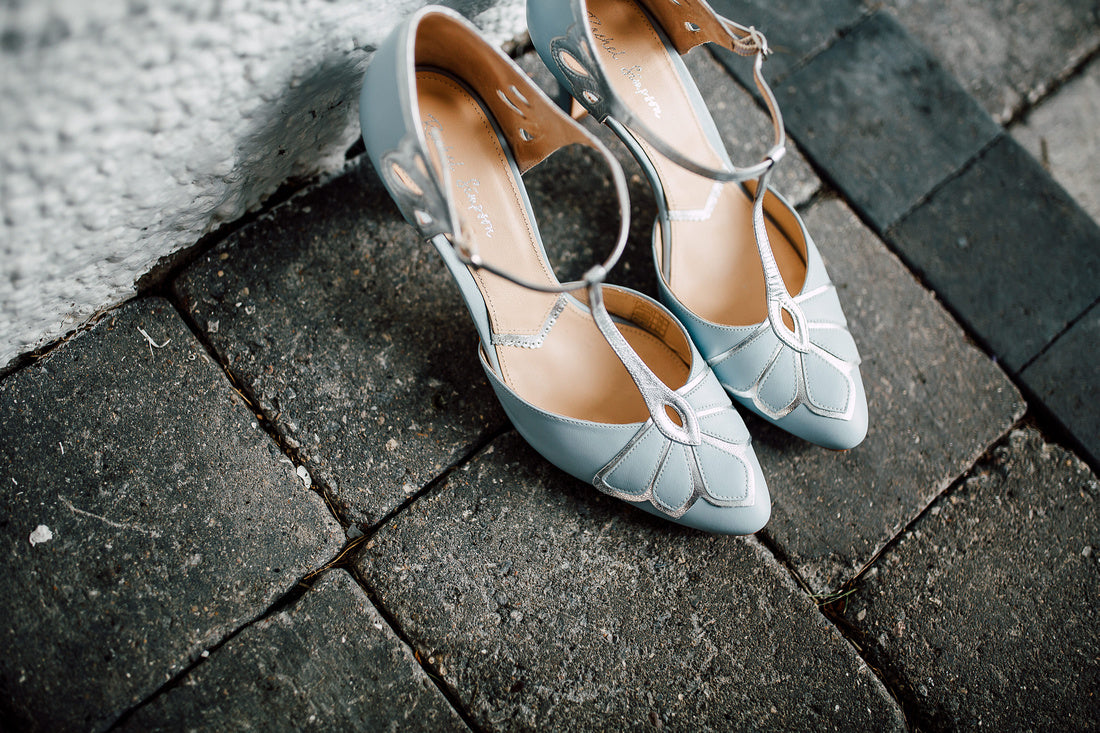 Rachel Simpson Gardenia blue vintage wedding shoes