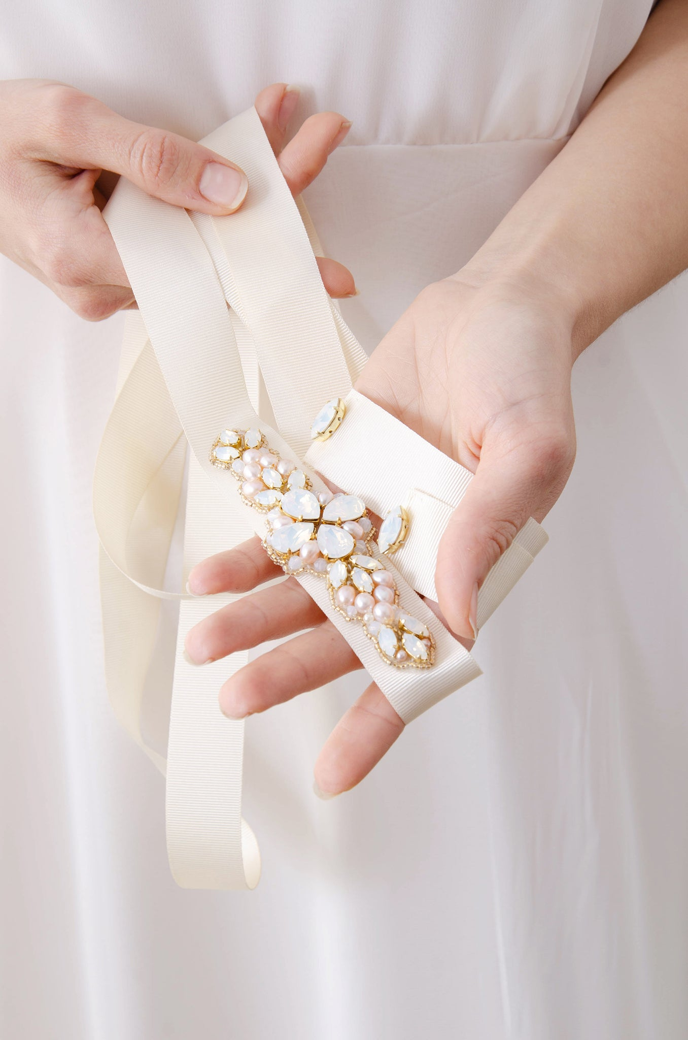 Laurel Lime X Rachel Simpson Pearl Embellished Swarovski crystal Bridal Belt