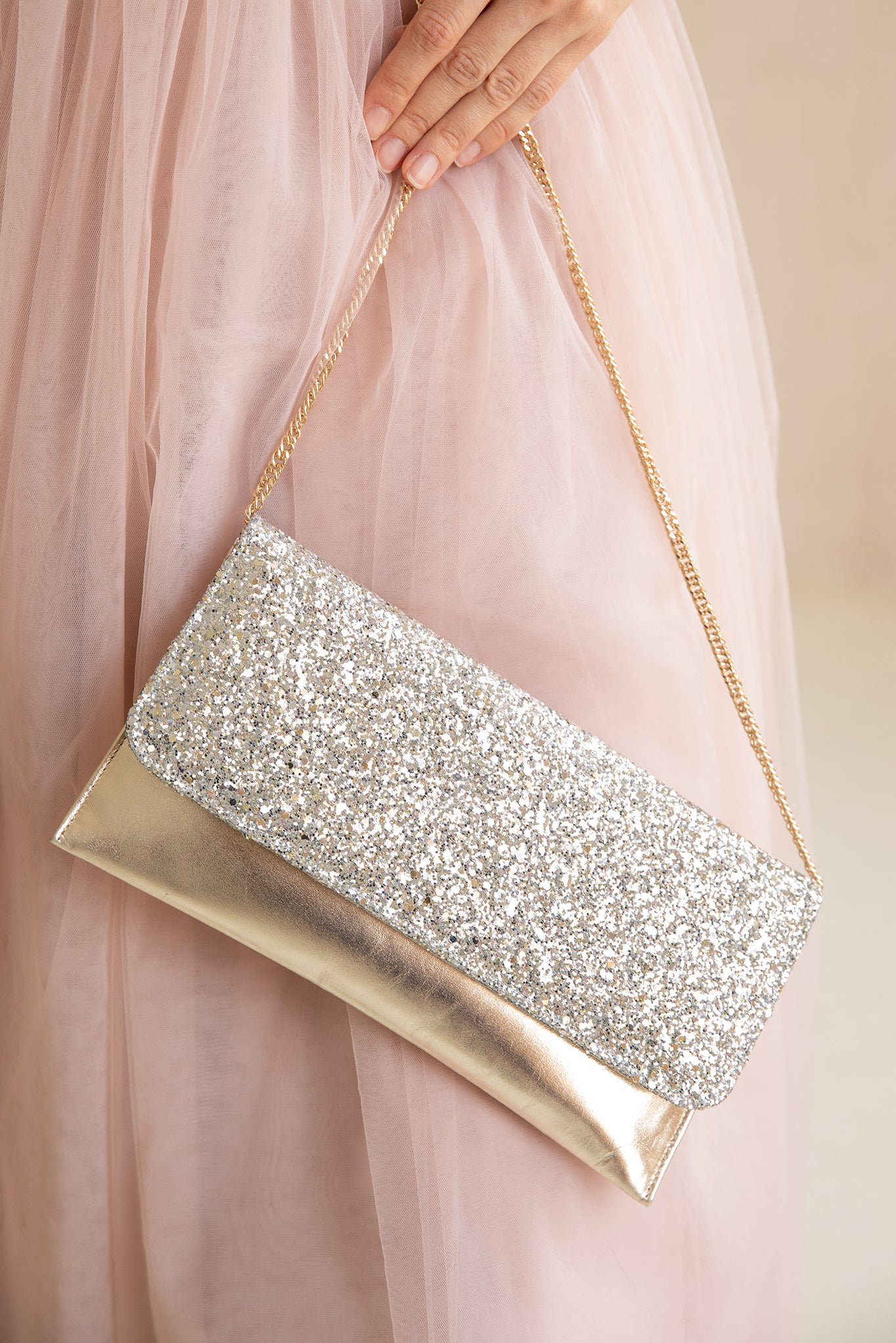 Rachel Simpson Skye glitter clutch bag
