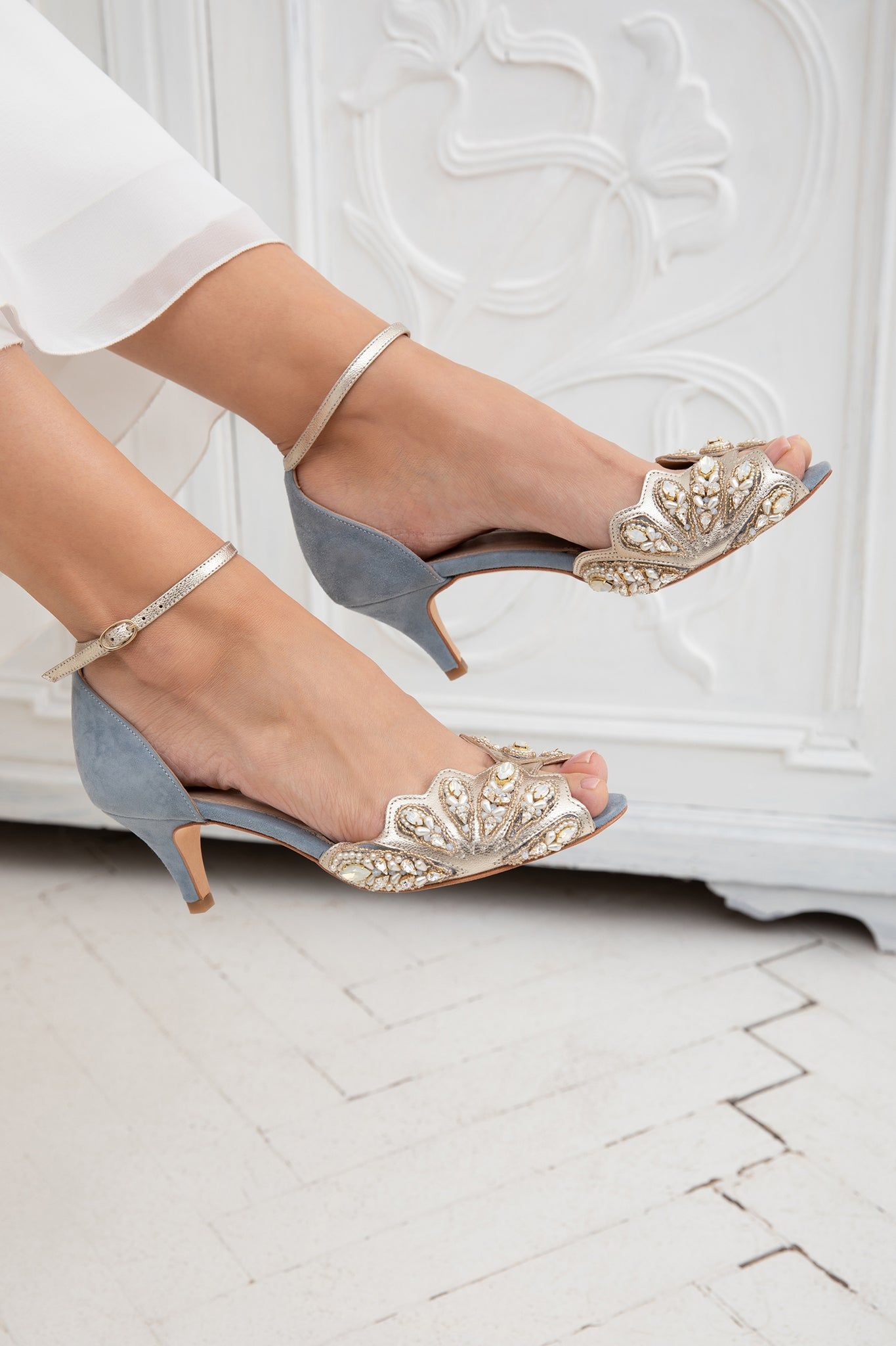 Laurel Lime X Rachel Simpson Isadora Opal Swarovski crystal blue wedding shoes