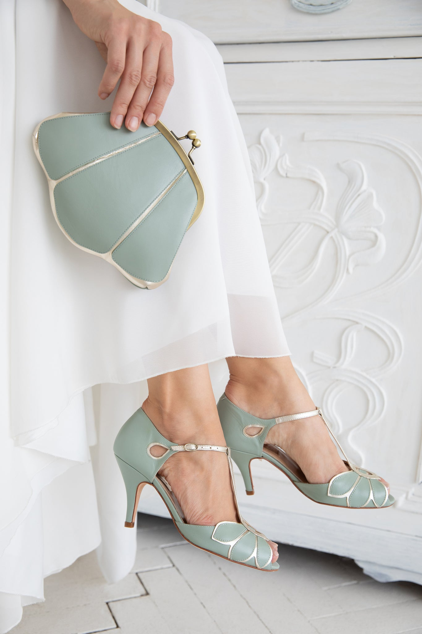 Rachel Simpson Mimosa and Mia mint green wedding shoes and matching bag