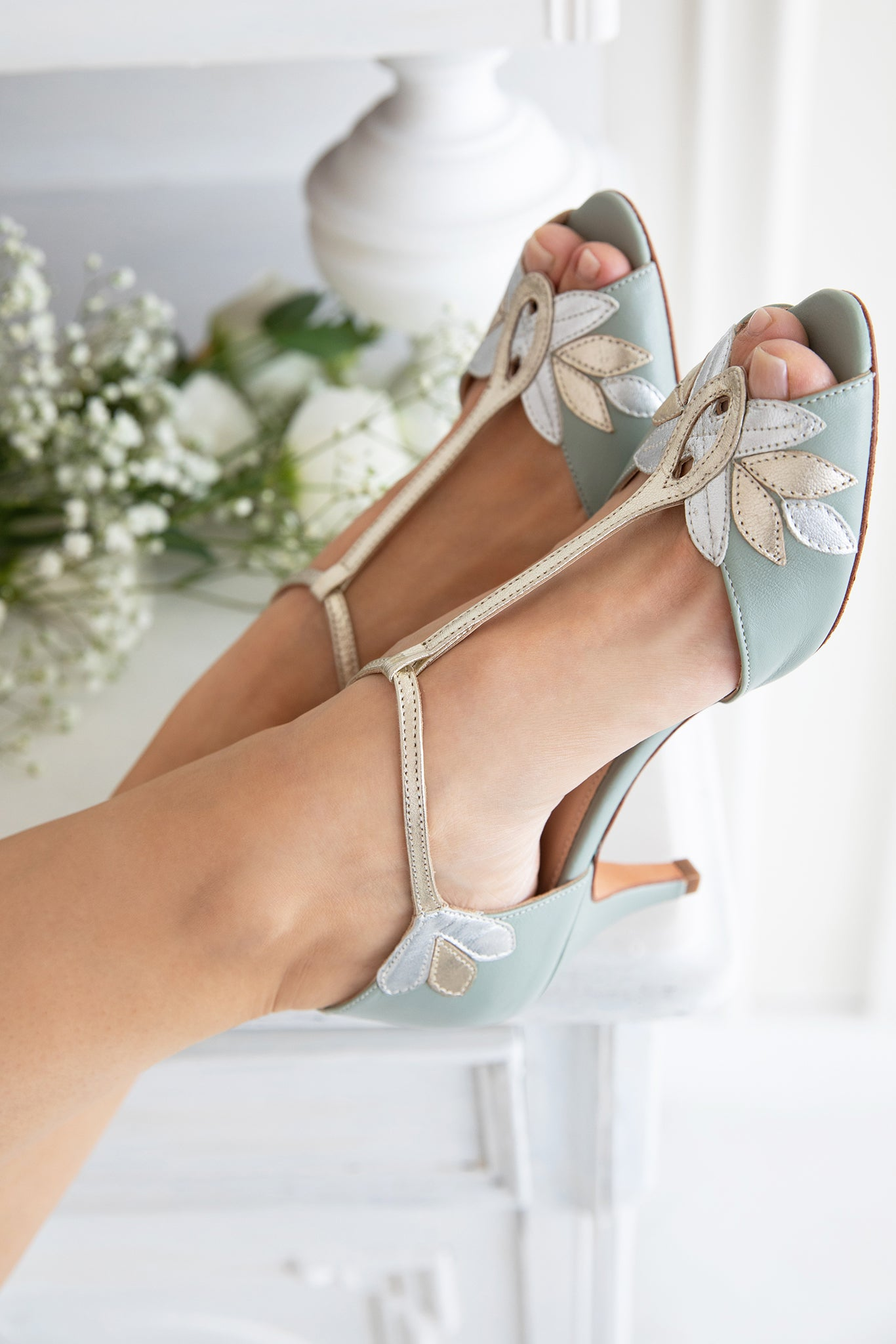 Rachel Simpson Isla mint green t-bar wedding shoes
