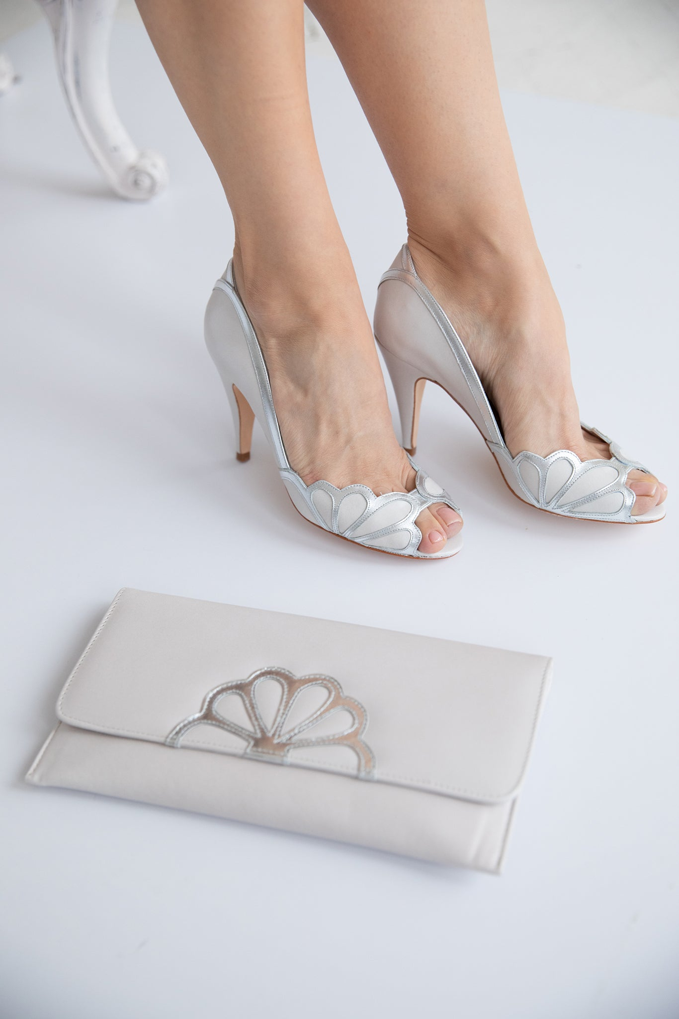 Rachel Simpson Isabelle ivory Art Deco wedding shoes and Iona clutch bag