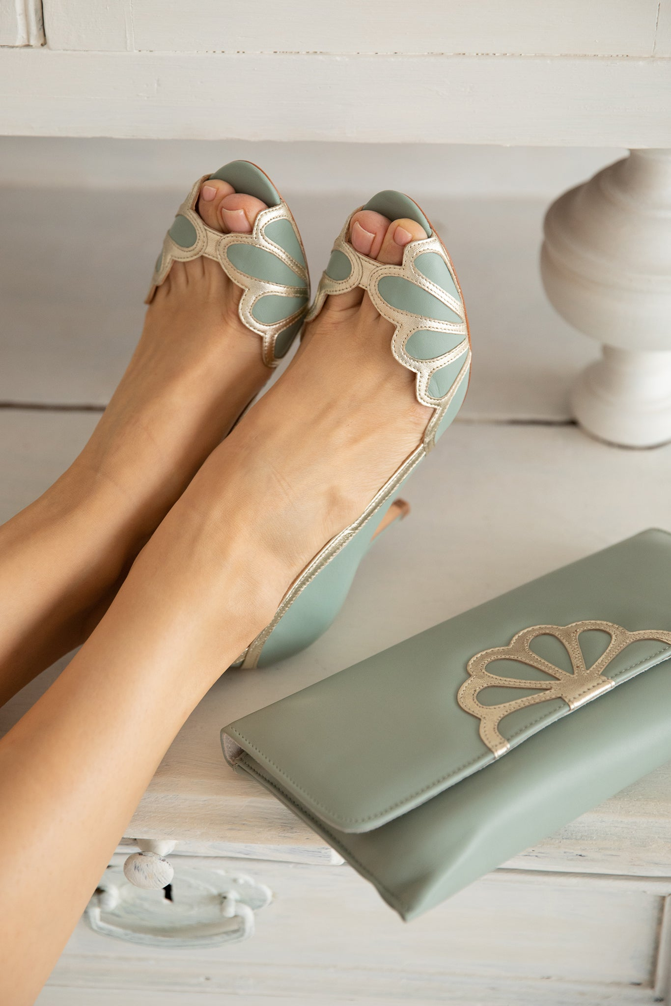 Rachel Simpson Isabelle mint green wedding shoes and matching Iona mint green clutch bag