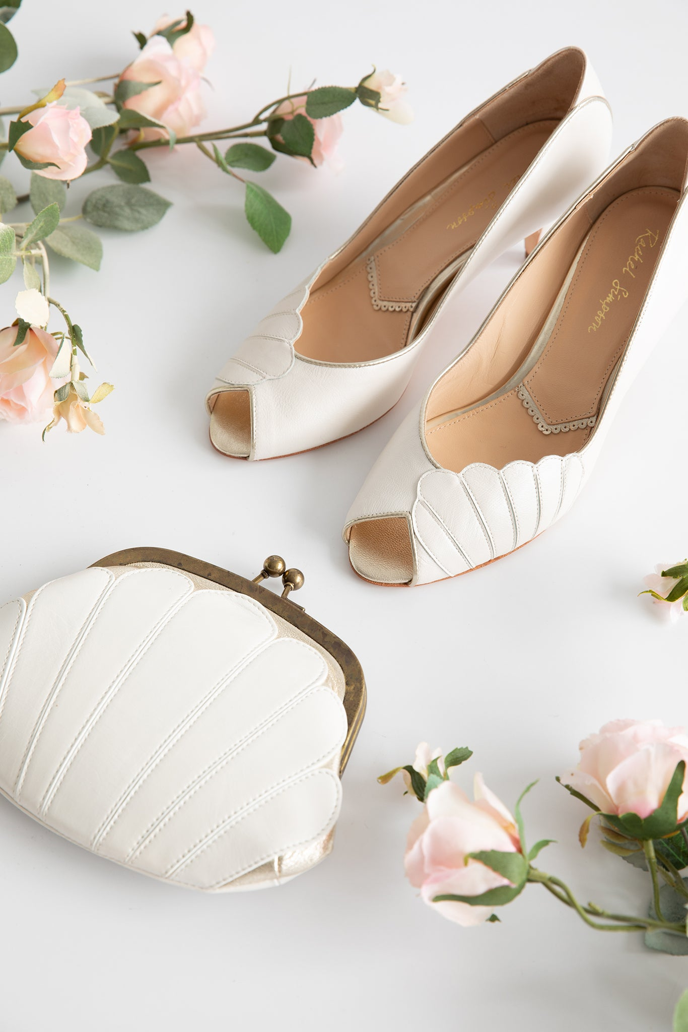 Rachel Simpson Ada vintage wedding shoes and matching Agatha vintage ivory bag
