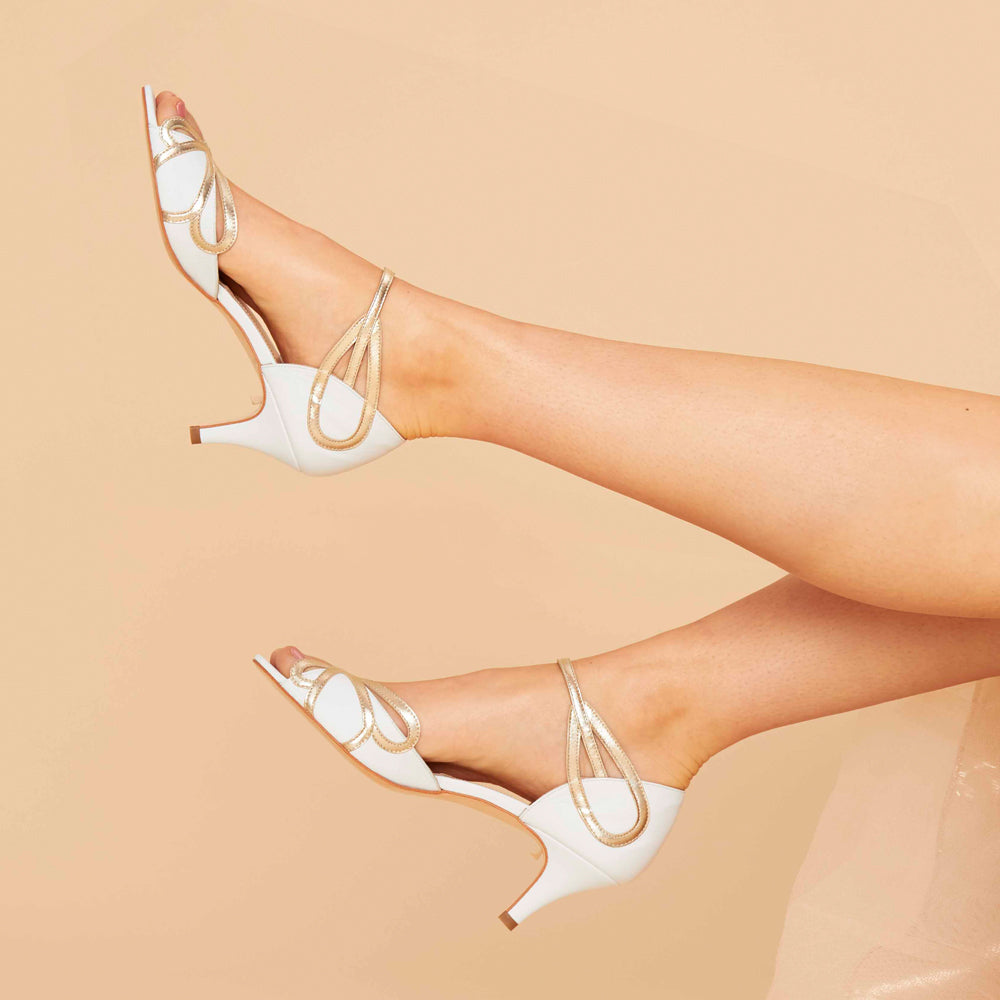 Rachel Simpson Low Heel Wedding Shoe Ivory and Gold Leather ShoeCecelia