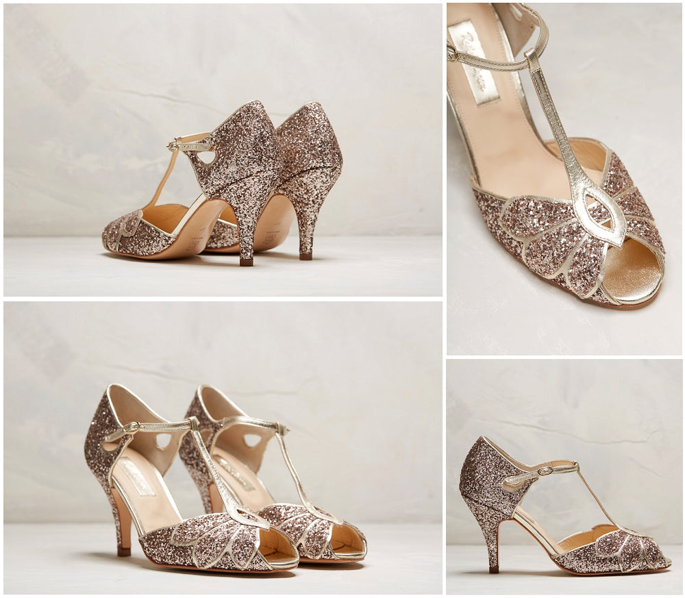 Mimosa Gold Glitter Wedding Shoes