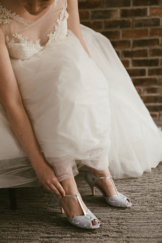 Mimosa blue wedding shoes