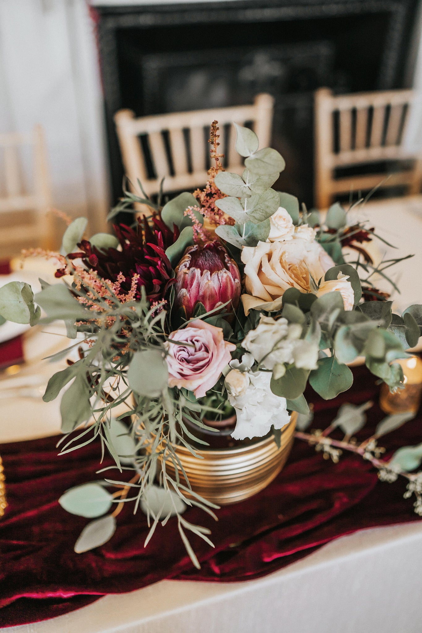 Burgundy Gold Wedding Flowers