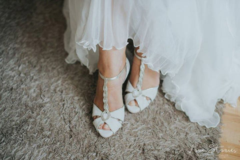 Naomi ivory suede t-bar platform wedding shoes