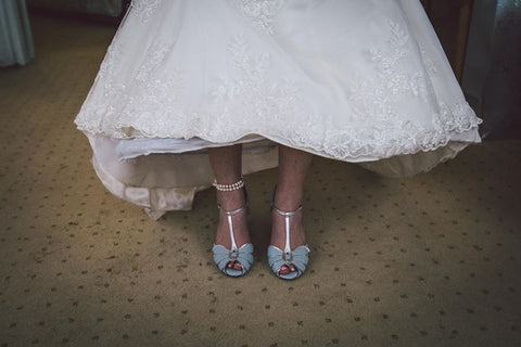 Charlotte's wedding, something blue, something borrowed vintage style shoes by Rachel Simpson
