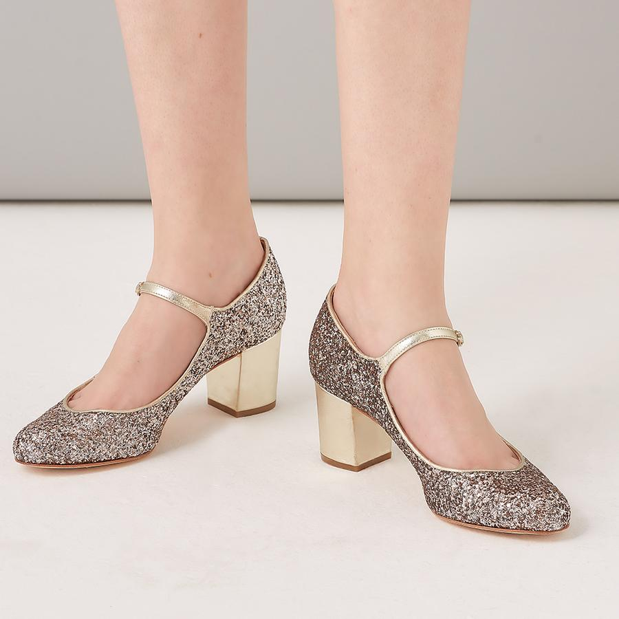 Rachel Simpson Chloe Glitter Block heel wedding shoes